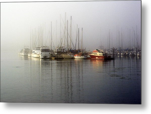 Fog Light In The Harbor Metal Print