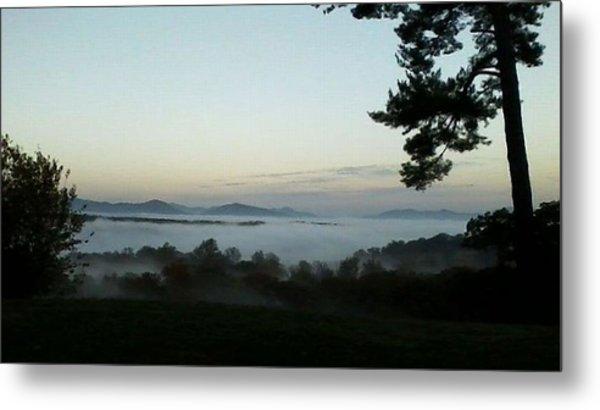 Fog Mountain Lake Metal Print