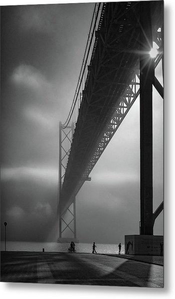 Fog On The Tejo River Metal Print by Fernando Jorge Gon?alves
