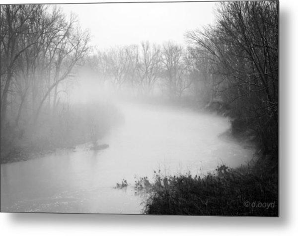 Fog Over The Stream Metal Print