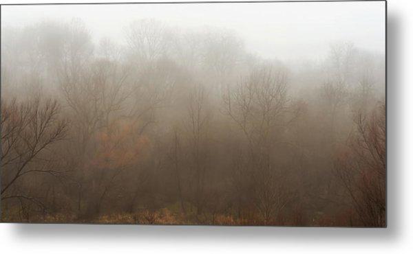 Fog Riverside Park Metal Print