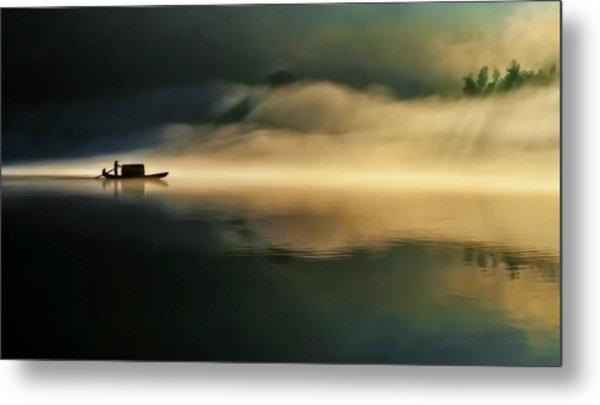 Fog Sprinkle The East River Metal Print by Hua Zhu