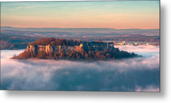 Fog Surrounding The Fortress Koenigstein Metal Print