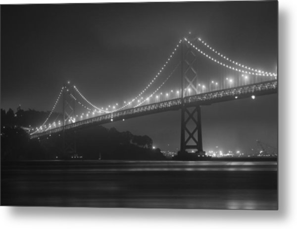 Foggy Bay Bridge Metal Print