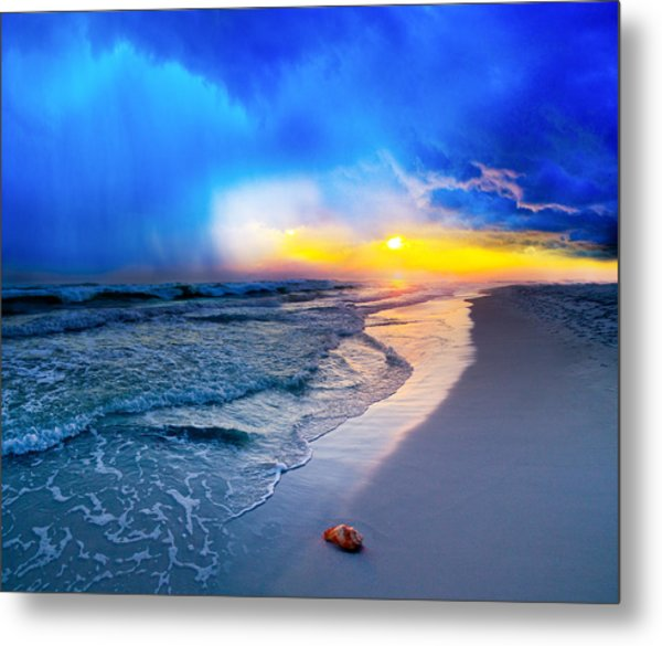 foggy blue sunrise - sea shell on Pensacola Beach Florida Metal Print