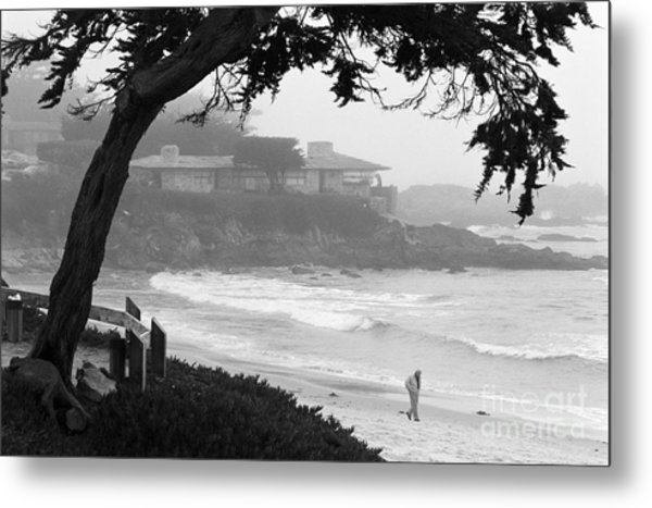 Foggy Day On Carmel Beach Metal Print