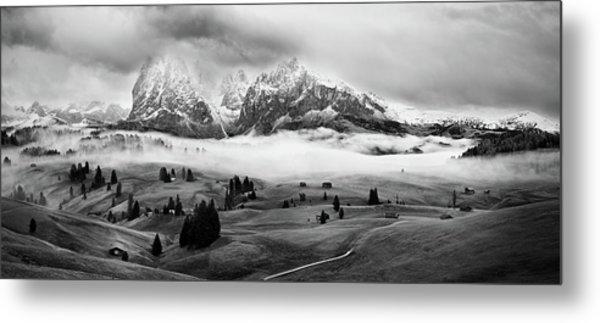 Foggy Dolomites Metal Print