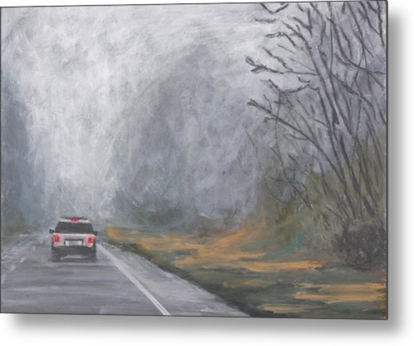 Foggy Drive Home Metal Print
