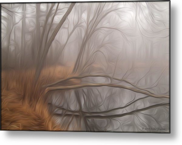 Foggy Fall Morning Metal Print
