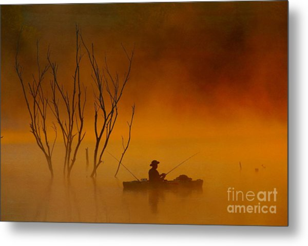Foggy Morning Fisherman Metal Print