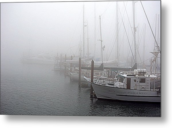 Foggy Morning In Charleston Harbor Metal Print