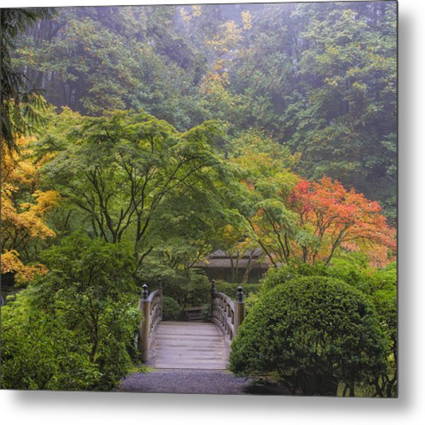Foggy Morning In Japanese Garden Metal Print