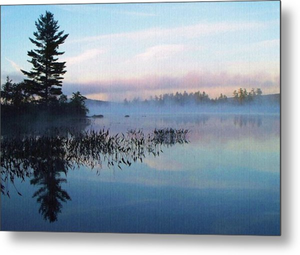 Foggy Morning's Chill -- On Parker Pond Metal Print