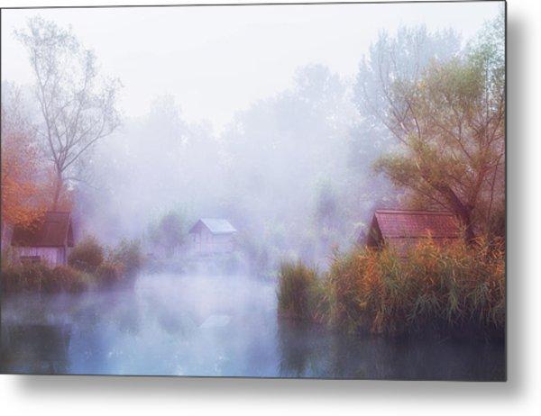 Foggy Mornings On The Lake Metal Print