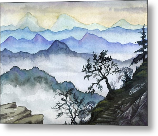 Foggy Mountaines Sunset View  Metal Print