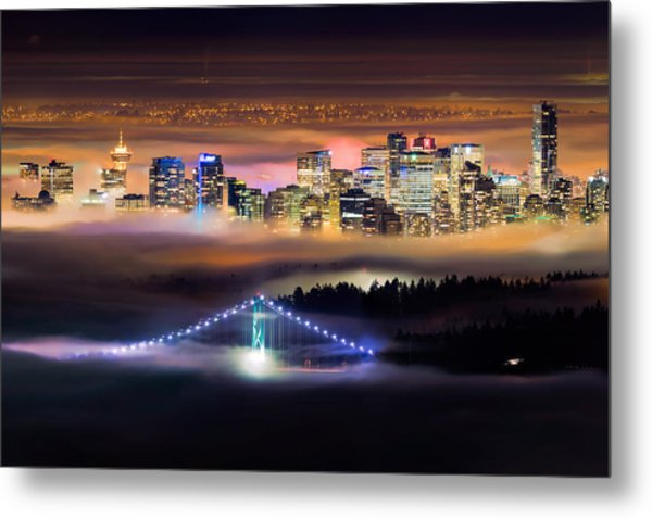 Foggy Night Crop Metal Print