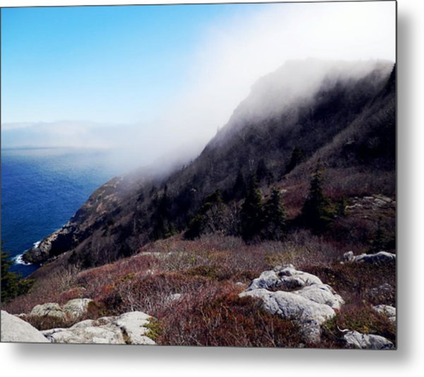 Foggy Seashore Metal Print