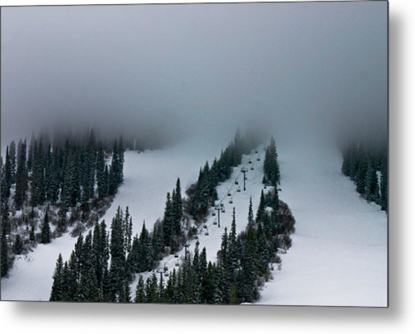 Foggy Ski Resort Metal Print
