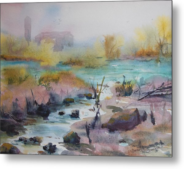 Foggy Stream Metal Print by Barbara McGeachen