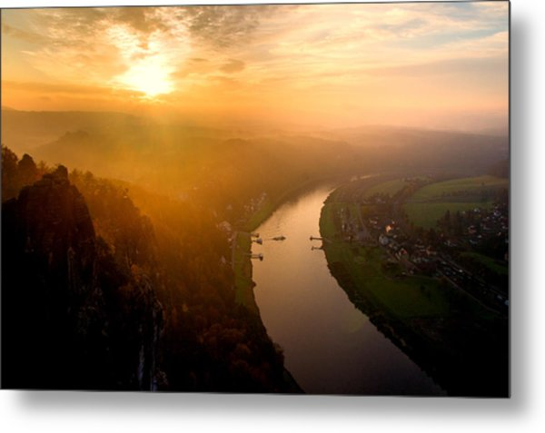 Foggy Sunrise At The Elbe Metal Print