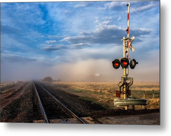 Foggy Train Tracks Metal Print