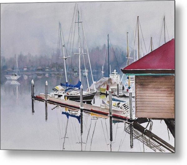 Foggy Dock Metal Print
