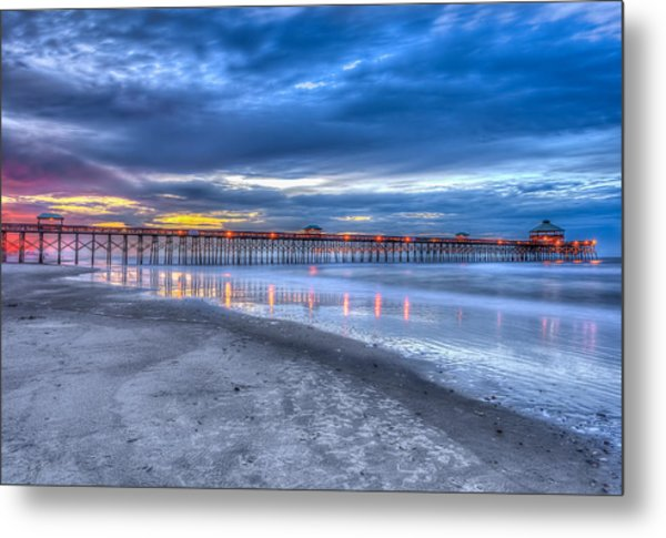 Folly Beach Fishing Pier Metal Print