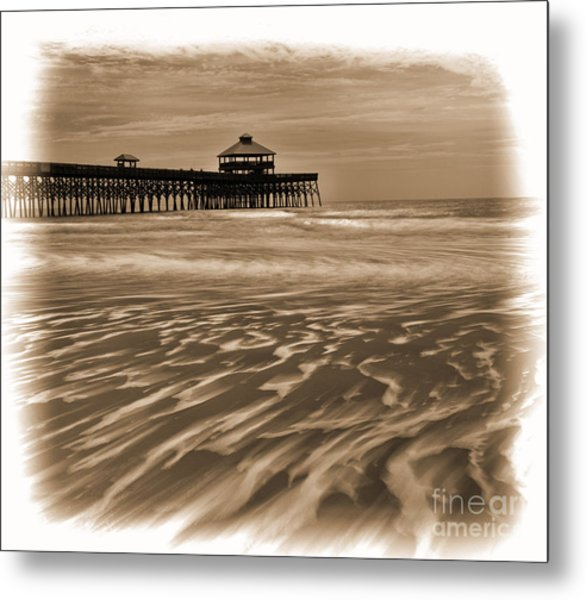 Folly Beach Pier Toned Metal Print