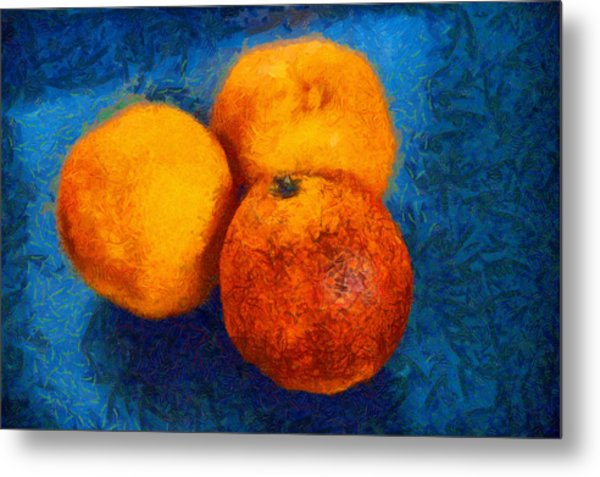 Food Still Life - Three Oranges On Blue - Digital Painting Metal Print