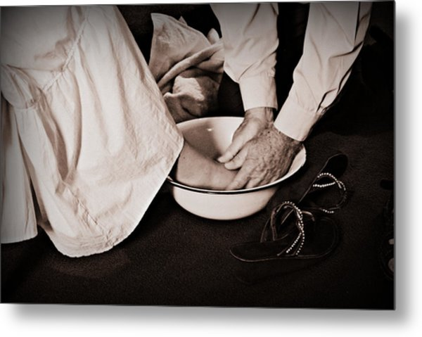Foot Washing Metal Print by Stephanie Grooms