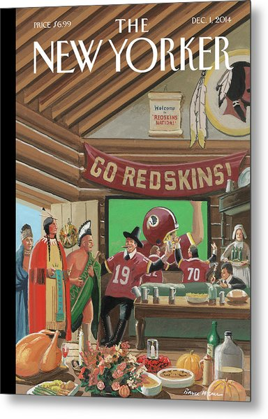 Football Fans Invite People Over For Thanksgiving Metal Print by Bruce McCall