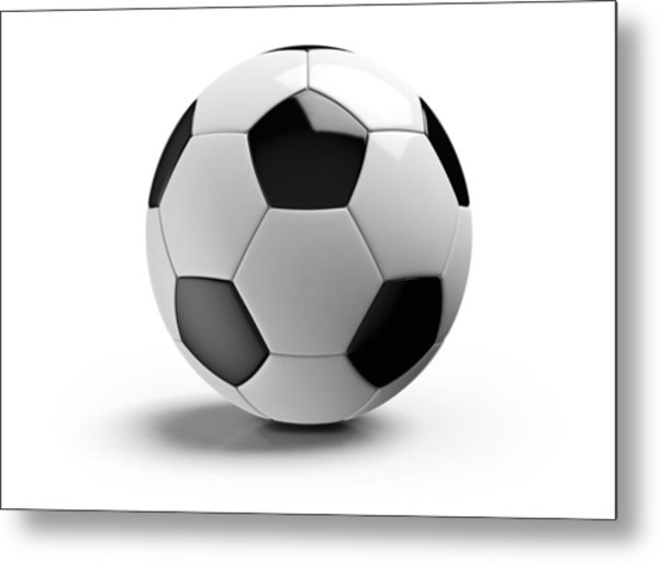 Football On A White Background Metal Print by Atomic Imagery