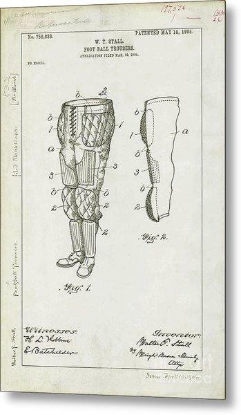 Football Pants Patent Drawing Metal Print