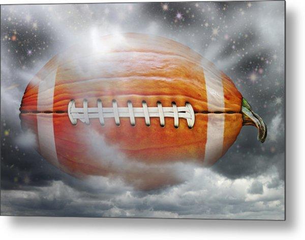 Football Pumpkin Metal Print
