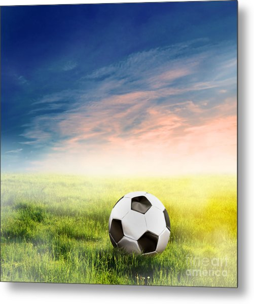 Football Soccer Ball On Green Grass Metal Print