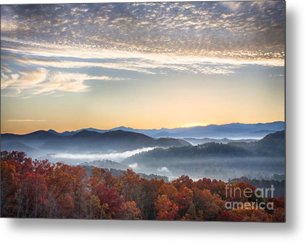 Foothills Parkway Fall Morning Metal Print