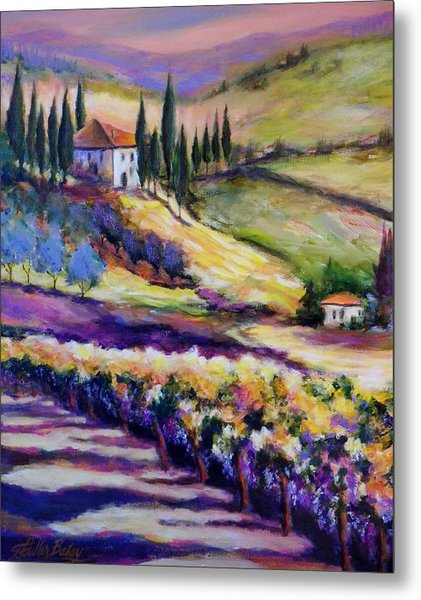 Foothills Vines And Olives Of Tuscany  Sold Metal Print by Therese Fowler-Bailey