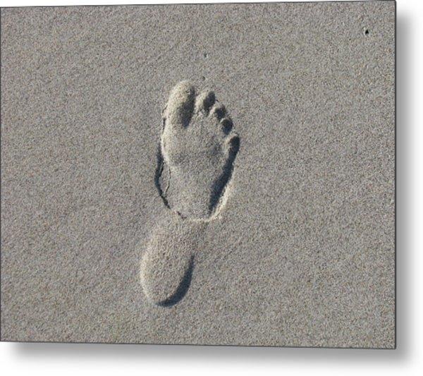 Footprint In The Sand Metal Print