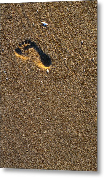 Footprint On Beach Metal Print