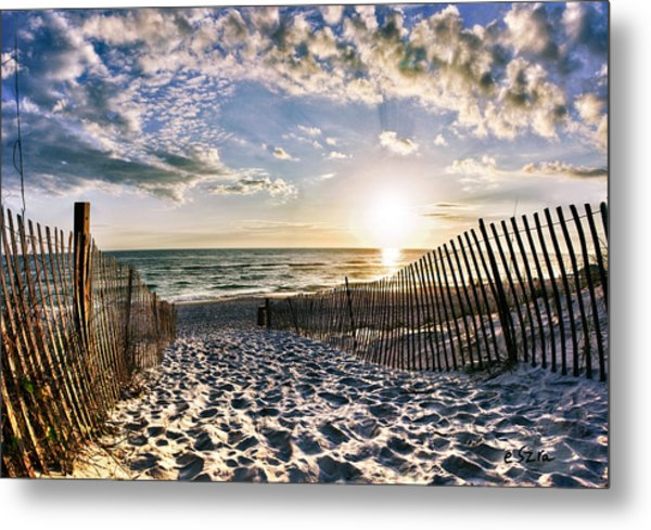 Footprints In Sand Beach Sunset Metal Print