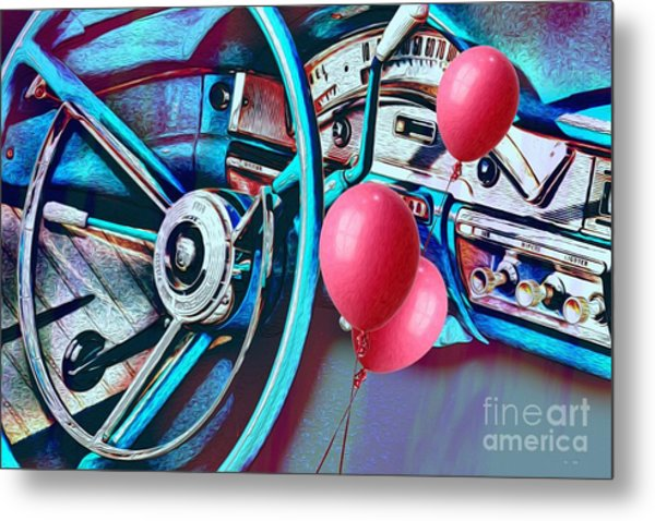 Ford Fairlane 500 Dashboard- Warhol-esque Metal Print