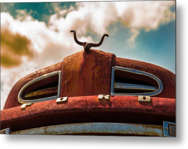 Ford Hood Ornament Metal Print