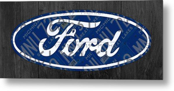 Ford Motor Company Retro Logo License Plate Art Metal Print