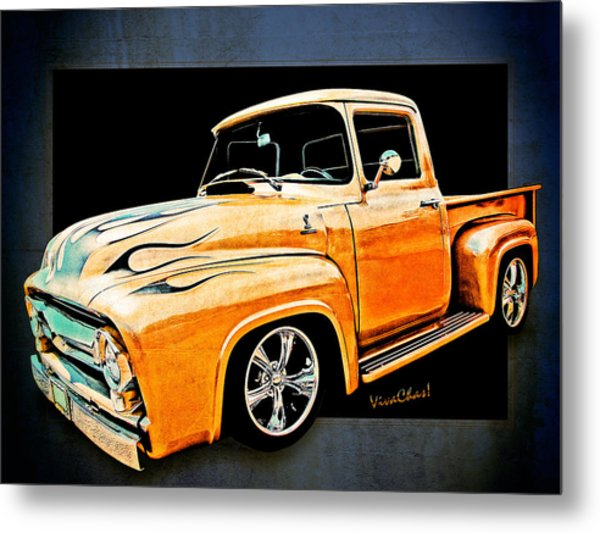 Ford Pickup In Flaming Gold Metal Print