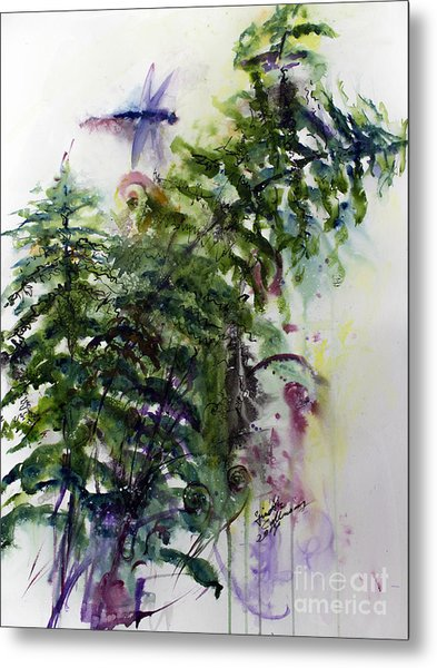 Forest Fern And Dragonfly Metal Print