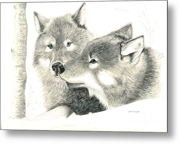 Forever Wolf Love-the Greeting Metal Print