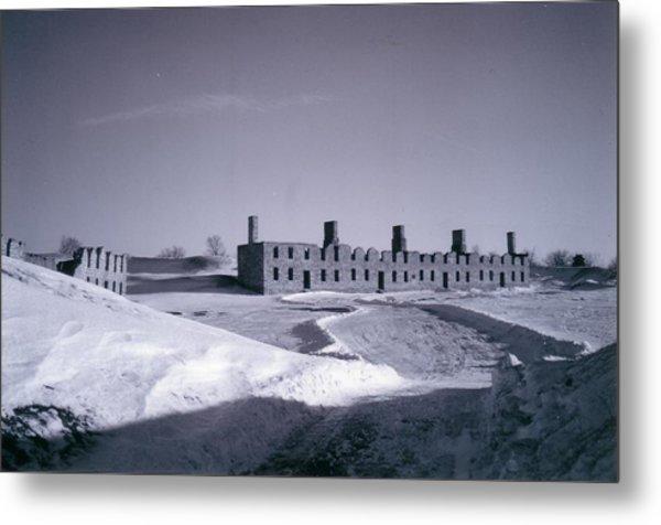 Fort Crown Point Ruins In Winter Metal Print by David Fiske
