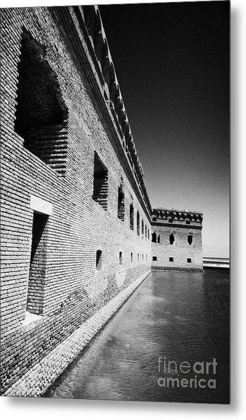 Fort Jefferson Brick Walls With Moat Dry Tortugas National Park Florida Keys Usa Metal Print by Joe Fox