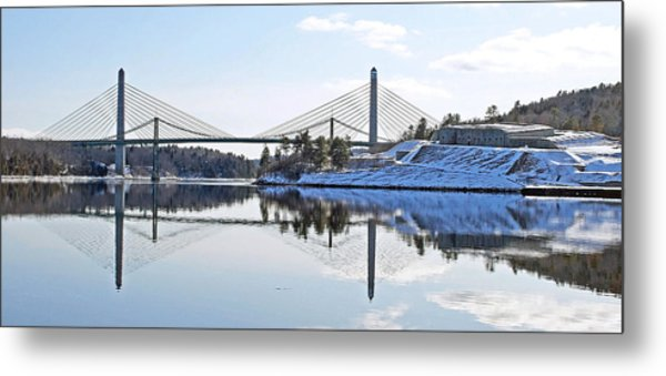 Fort Knox And Bridges Reflection In Winter Metal Print