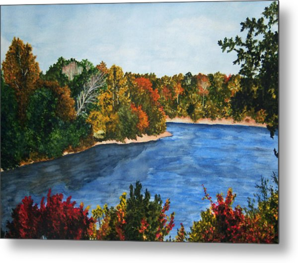 Fort Toulouse Coosa River In Fall Metal Print by Beth Parrish